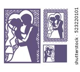 bride and groom silhouette.... | Shutterstock .eps vector #523220101