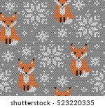 foxes jacquard knitted seamless ... | Shutterstock .eps vector #523220335