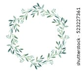 Watercolor Green Leaves Wreath