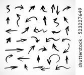 hand drawn arrows  vector set | Shutterstock .eps vector #523227649