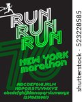 run new york marathon sport... | Shutterstock .eps vector #523228585