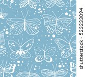 seamless pattern with butterfly.... | Shutterstock .eps vector #523233094