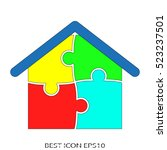 house  puzzle  vector icon ... | Shutterstock .eps vector #523237501