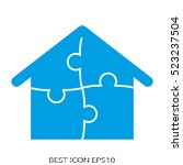 house  puzzle  vector icon ... | Shutterstock .eps vector #523237504
