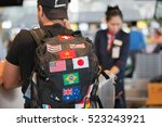 young man with backpack in... | Shutterstock . vector #523243921