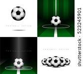 set of soccer balls on... | Shutterstock .eps vector #523245901