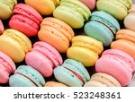 french colorful macarons on... | Shutterstock . vector #523248361