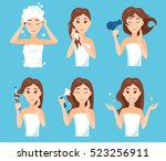 attractive young woman wash ... | Shutterstock .eps vector #523256911