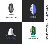 set of building logos with text ... | Shutterstock .eps vector #523259329