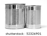 a pair of cans isolated on a white background - stock photo