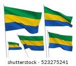 gabon vector flags set. 5 wavy... | Shutterstock .eps vector #523275241