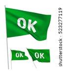 ok   green vector flags. a set... | Shutterstock .eps vector #523277119