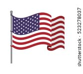 united states flag with waving... | Shutterstock .eps vector #523278037