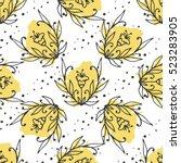 herbal tea seamless pattern.... | Shutterstock .eps vector #523283905