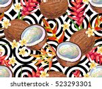 summer jungle pattern with... | Shutterstock .eps vector #523293301