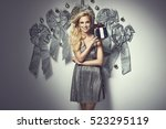 beautiful young elegant woman... | Shutterstock . vector #523295119