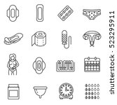 menstruation icons set. monthly ... | Shutterstock .eps vector #523295911