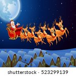 santa claus riding his reindeer ... | Shutterstock .eps vector #523299139