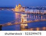 budapest city night scene. view ... | Shutterstock . vector #523299475