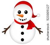 christmas snowman on white... | Shutterstock .eps vector #523305127
