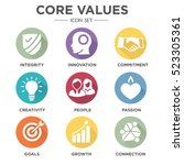 company core values solid icons ... | Shutterstock .eps vector #523305361
