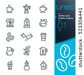 lineo   coffee line icons | Shutterstock .eps vector #523306441