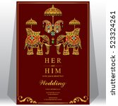 indian wedding card  elephant... | Shutterstock .eps vector #523324261