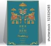indian wedding card  elephant...   Shutterstock .eps vector #523324285
