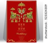 indian wedding card  elephant... | Shutterstock .eps vector #523324309