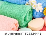 colorful rolled towels with... | Shutterstock . vector #523324441