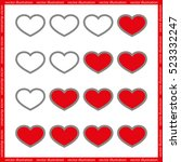 rating with flat hearts  icons... | Shutterstock .eps vector #523332247