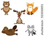 wild funny animals. vector set | Shutterstock .eps vector #523333051