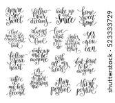 set of handwritten positive... | Shutterstock .eps vector #523333729