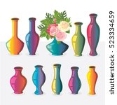 collection of vases icons with... | Shutterstock .eps vector #523334659