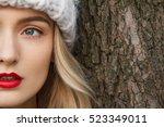 detail half face of a beautiful ... | Shutterstock . vector #523349011