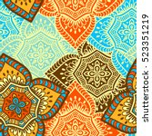 ethnic floral seamless pattern | Shutterstock .eps vector #523351219