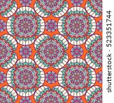 ethnic floral seamless pattern | Shutterstock .eps vector #523351744
