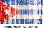 old grunge cuban flag on broken ... | Shutterstock . vector #523354681