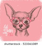 girl chihuahua illustration... | Shutterstock .eps vector #523361089
