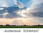 Sun and clouds over corn fields - stock photo