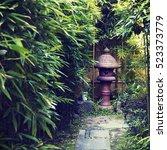 japanese stone lantern... | Shutterstock . vector #523373779