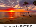 sunset on tropical beach... | Shutterstock . vector #523374235