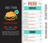 fast food menu design template... | Shutterstock .eps vector #523374304