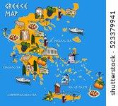 map of greece handmade drawing...   Shutterstock .eps vector #523379941