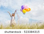 cute little girl holding... | Shutterstock . vector #523384315