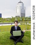 manager making business outside his office - stock photo