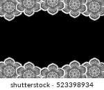 curly floral lace .patterned... | Shutterstock . vector #523398934