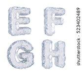 3d rendering of ice alphabet   Shutterstock . vector #523402489