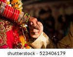 close up of hands of bride and... | Shutterstock . vector #523406179