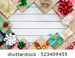 several christmas gifts boxes... | Shutterstock . vector #523409455